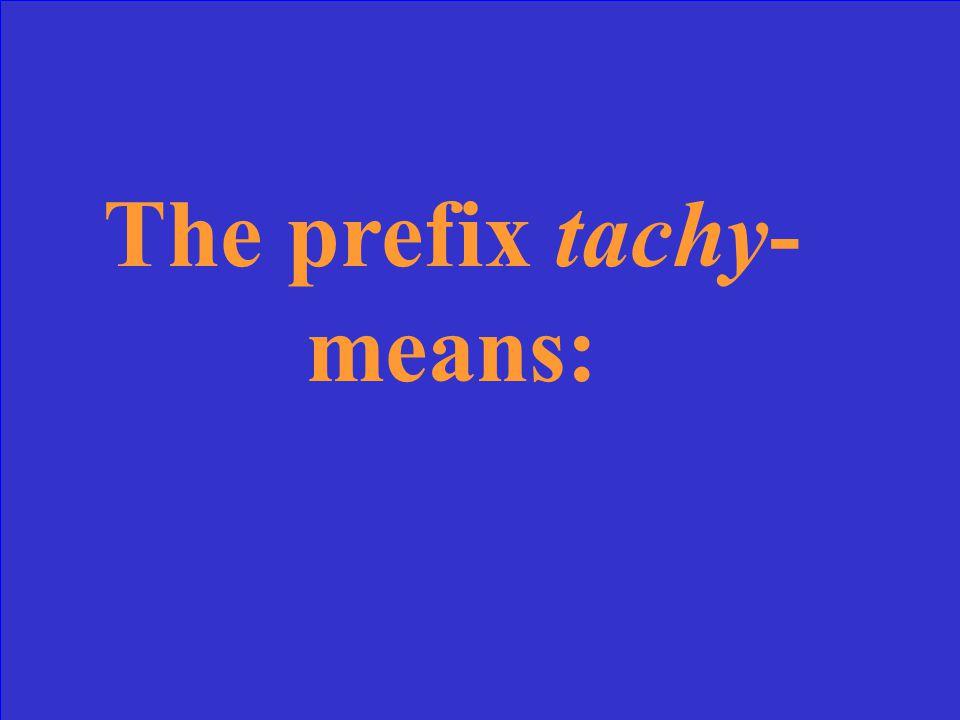 The prefix tachy- means: