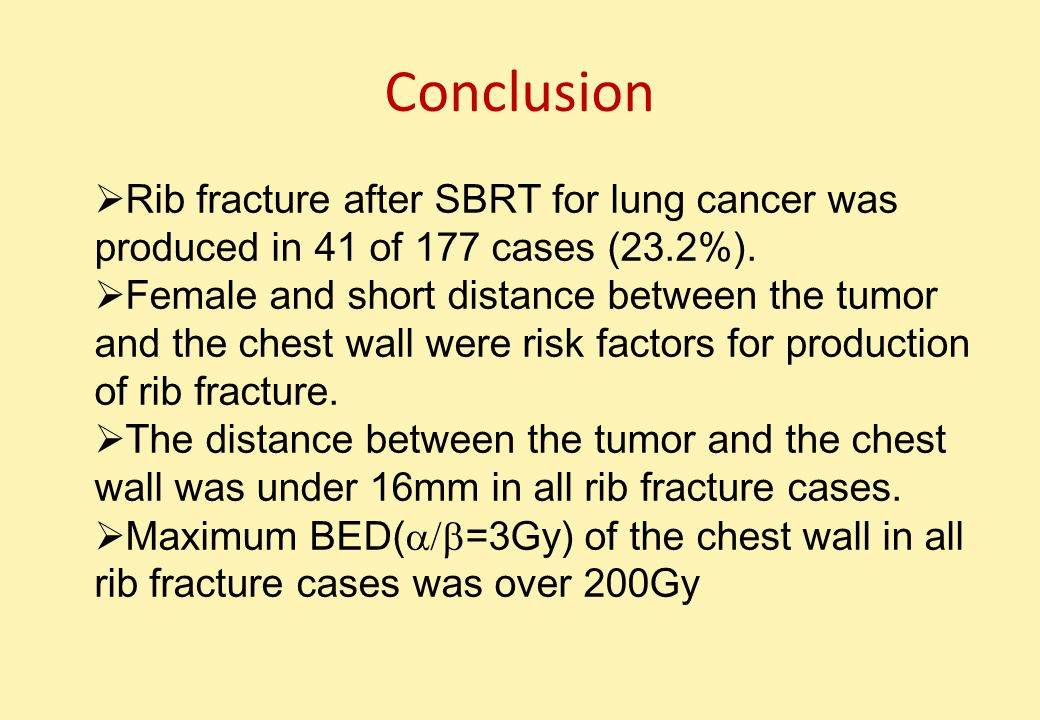 Conclusion  Rib fracture after SBRT for lung cancer was produced in 41 of 177 cases (23.2%).