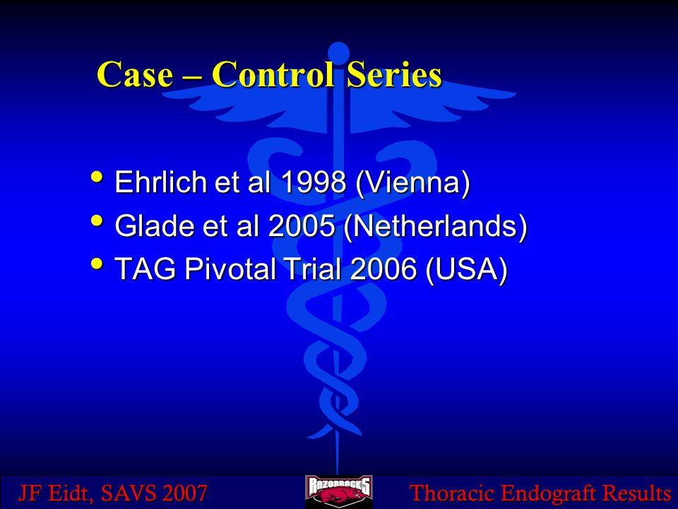 JF Eidt, SAVS 2007 Thoracic Endograft Results Case – Control Series Ehrlich et al 1998 (Vienna) Ehrlich et al 1998 (Vienna) Glade et al 2005 (Netherlands) Glade et al 2005 (Netherlands) TAG Pivotal Trial 2006 (USA) TAG Pivotal Trial 2006 (USA)