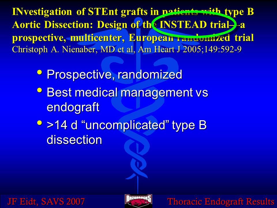 JF Eidt, SAVS 2007 Thoracic Endograft Results INvestigation of STEnt grafts in patients with type B Aortic Dissection: Design of the INSTEAD trial—a p