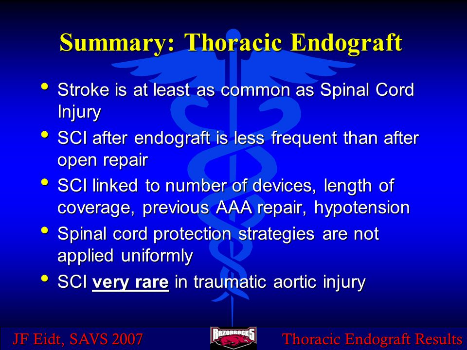 JF Eidt, SAVS 2007 Thoracic Endograft Results Summary: Thoracic Endograft Stroke is at least as common as Spinal Cord Injury Stroke is at least as com
