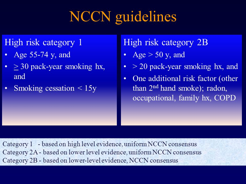 NCCN guidelines High risk category 1 Age 55-74 y, and > 30 pack-year smoking hx, and Smoking cessation < 15y High risk category 2B Age > 50 y, and > 20 pack-year smoking hx, and One additional risk factor (other than 2 nd hand smoke); radon, occupational, family hx, COPD Category 1 - based on high level evidence, uniform NCCN consensus Category 2A - based on lower level evidence, uniform NCCN consensus Category 2B - based on lower-level evidence, NCCN consensus