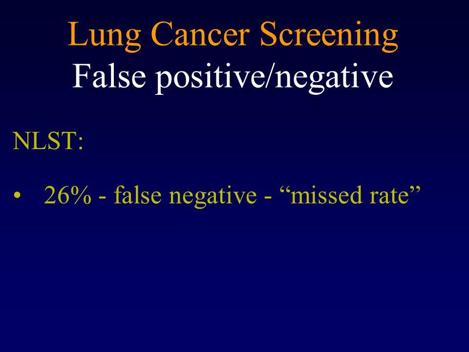 Lung Cancer Screening False positive/negative NLST: 26% - false negative - missed rate