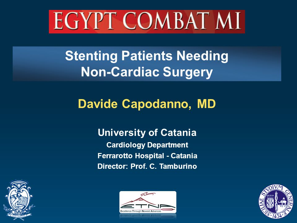 Davide Capodanno, MD University of Catania Cardiology Department Ferrarotto Hospital - Catania Director: Prof. C. Tamburino Stenting Patients Needing