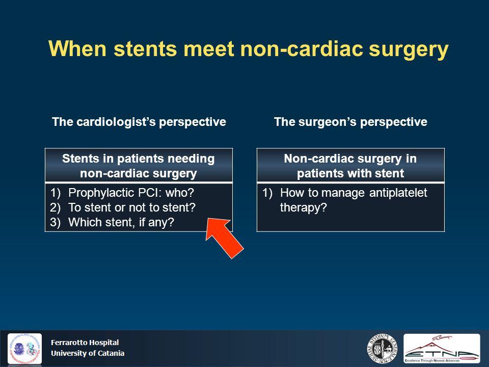 Ospedale Ferrarotto Università di Catania When stents meet non-cardiac surgery Stents in patients needing non-cardiac surgery 1)Prophylactic PCI: who?