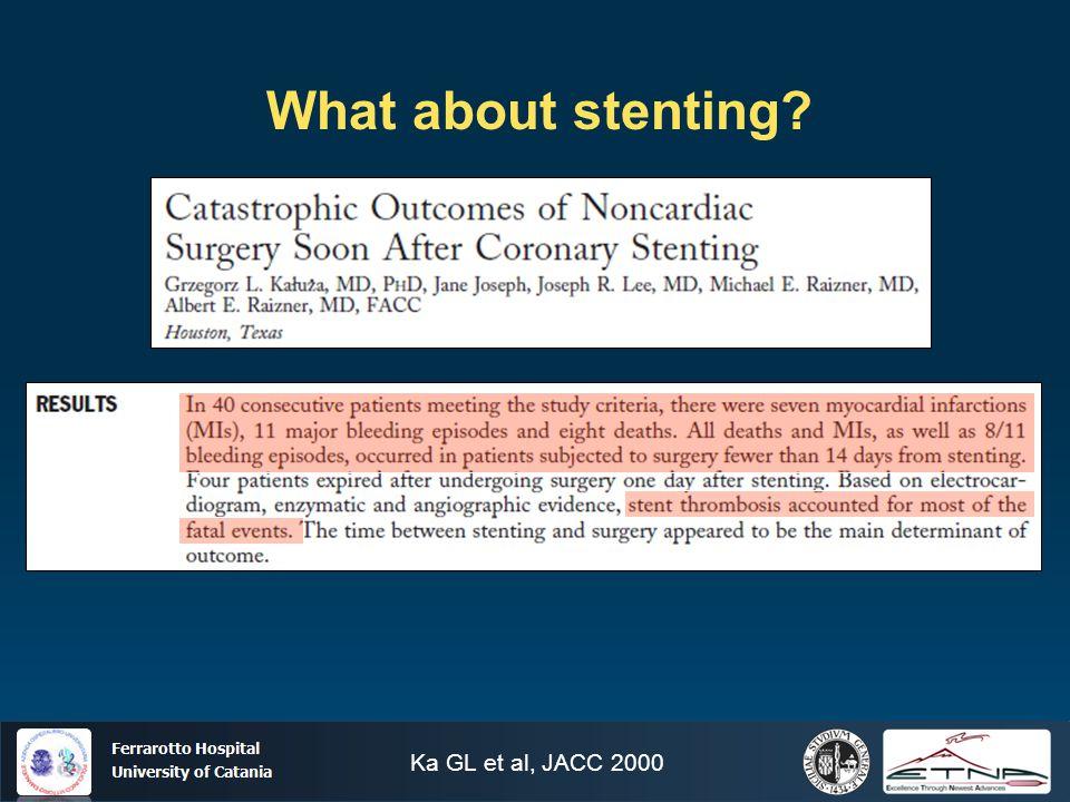 Ospedale Ferrarotto Università di Catania What about stenting? Ka GL et al, JACC 2000