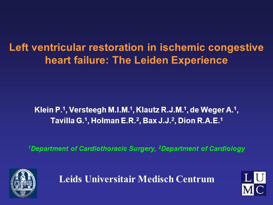 Left ventricular restoration in ischemic congestive heart failure: The Leiden Experience Klein P.
