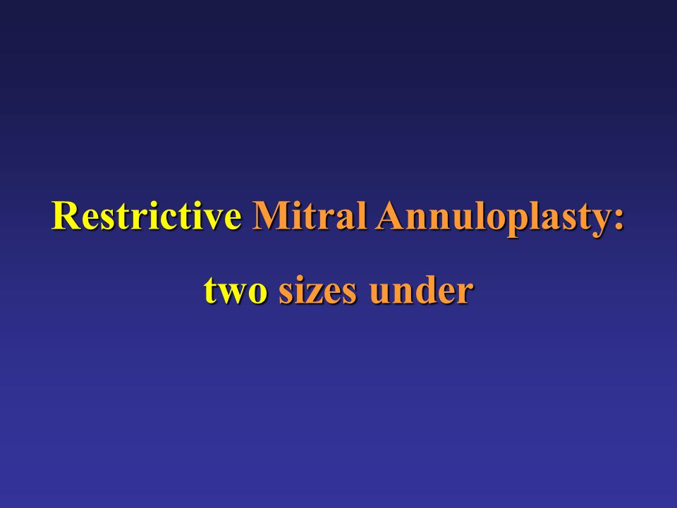 Restrictive Mitral Annuloplasty in Non-ischemic Dilating Cardiomyopathy Non-ischemic Dilating Cardiomyopathy J.