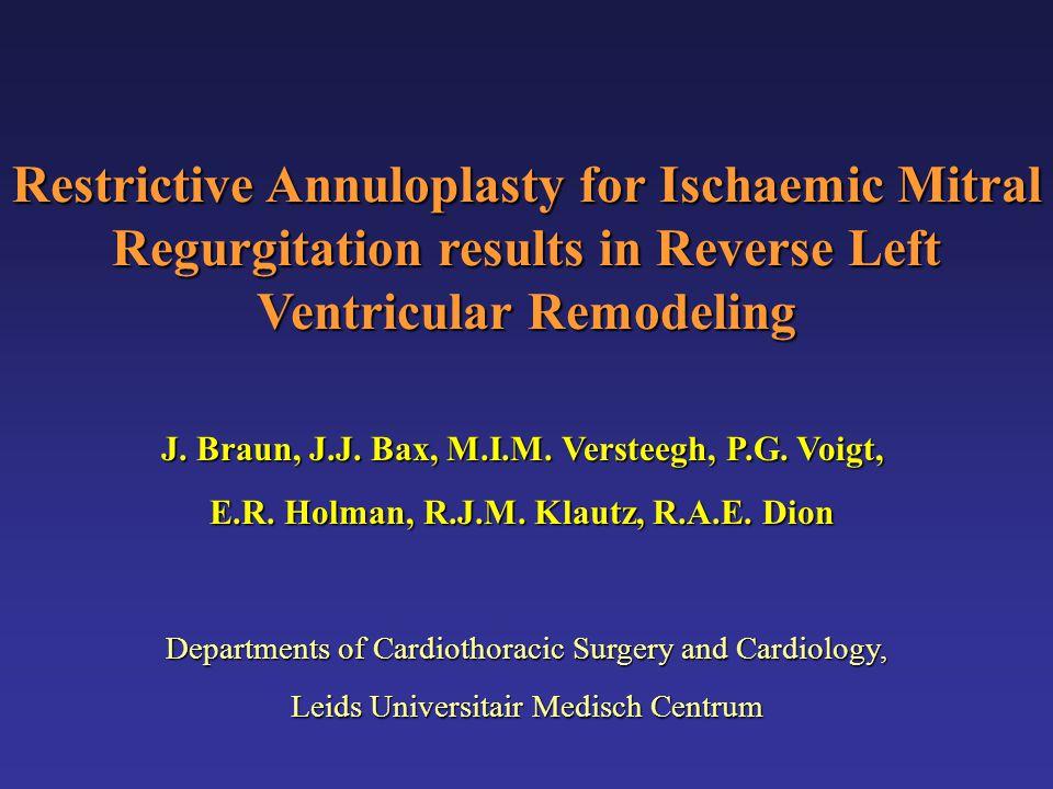 Restrictive Annuloplasty for Ischaemic Mitral Regurgitation results in Reverse Left Ventricular Remodeling J.