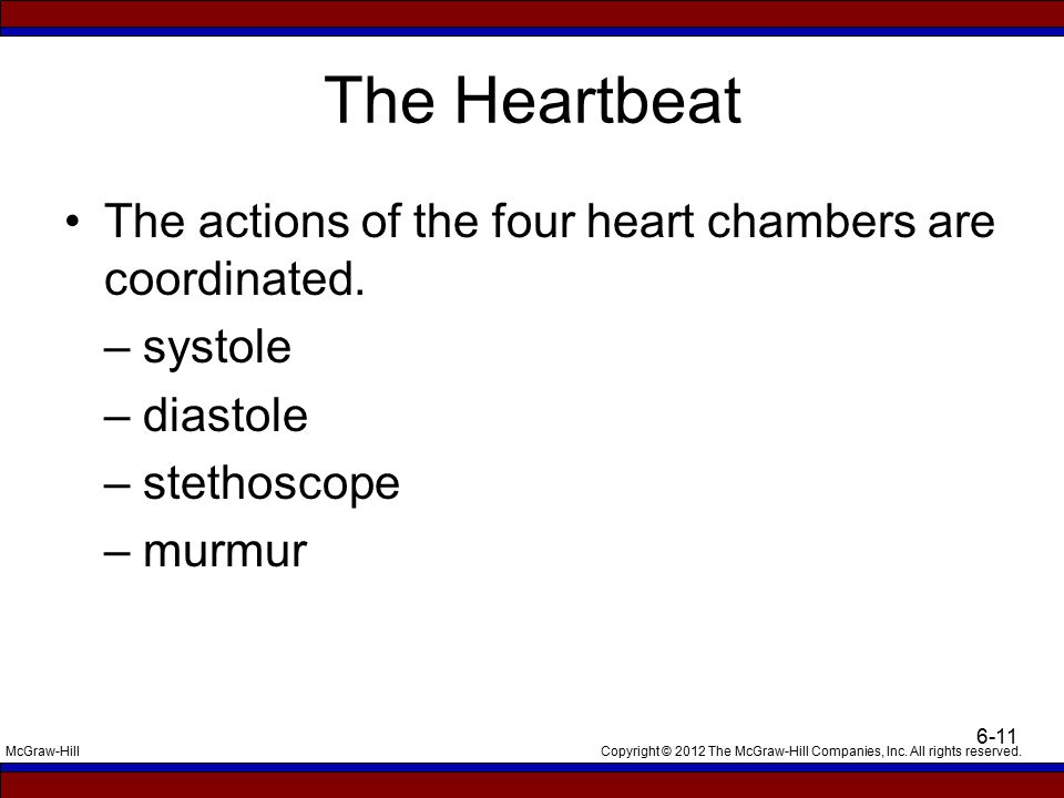 Copyright © 2012 The McGraw-Hill Companies, Inc. All rights reserved.McGraw-Hill 6-11 The Heartbeat The actions of the four heart chambers are coordin