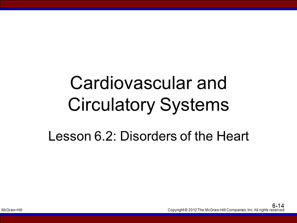 Copyright © 2012 The McGraw-Hill Companies, Inc. All rights reserved.McGraw-Hill 6-14 Cardiovascular and Circulatory Systems Lesson 6.2: Disorders of