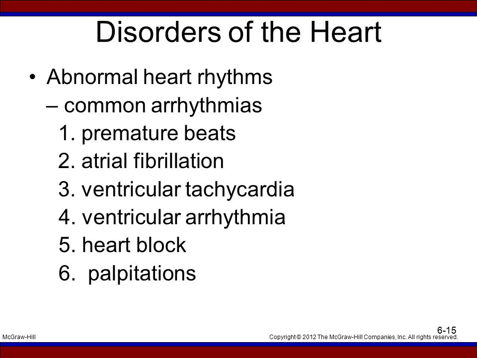 Copyright © 2012 The McGraw-Hill Companies, Inc. All rights reserved.McGraw-Hill 6-15 Disorders of the Heart Abnormal heart rhythms – common arrhythmi