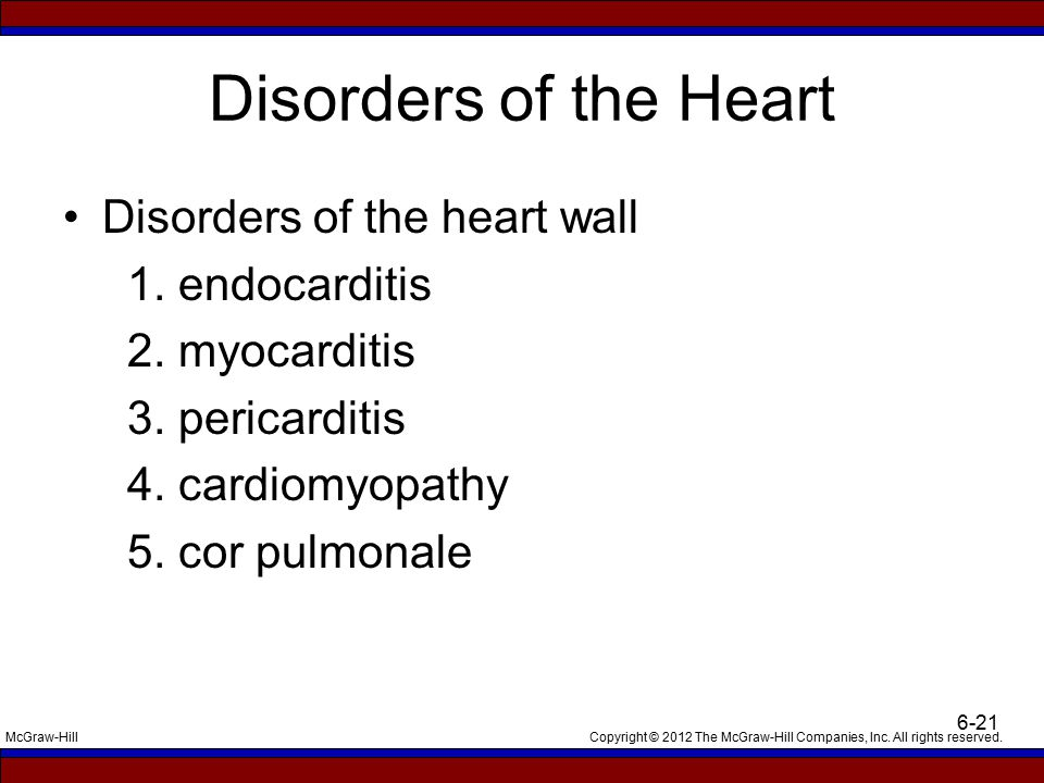 Copyright © 2012 The McGraw-Hill Companies, Inc. All rights reserved.McGraw-Hill 6-21 Disorders of the Heart Disorders of the heart wall 1. endocardit