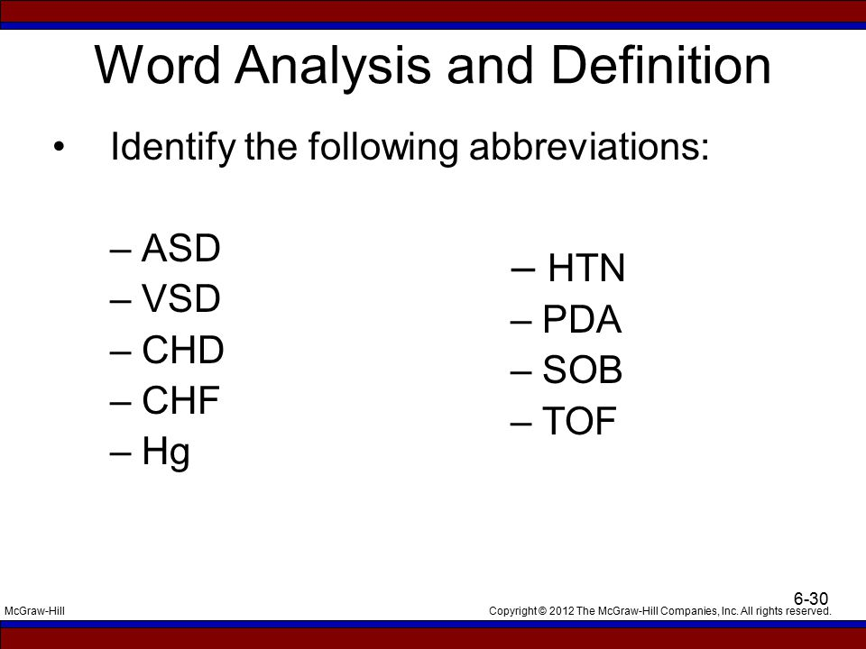 Copyright © 2012 The McGraw-Hill Companies, Inc. All rights reserved.McGraw-Hill 6-30 Word Analysis and Definition Identify the following abbreviation