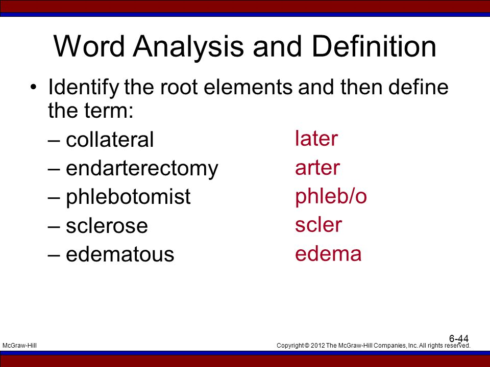 Copyright © 2012 The McGraw-Hill Companies, Inc. All rights reserved.McGraw-Hill 6-44 - Word Analysis and Definition Identify the root elements and th
