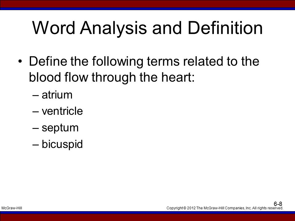 Copyright © 2012 The McGraw-Hill Companies, Inc. All rights reserved.McGraw-Hill 6-8 Word Analysis and Definition Define the following terms related t