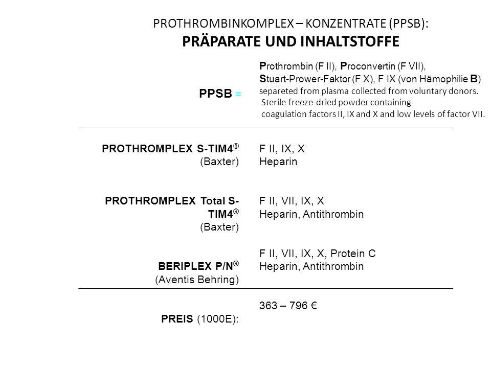 PROTHROMBINKOMPLEX – KONZENTRATE (PPSB): PRÄPARATE UND INHALTSTOFFE PROTHROMPLEX S-TIM4 ® (Baxter) PROTHROMPLEX Total S- TIM4 ® (Baxter) BERIPLEX P/N ® (Aventis Behring) PREIS (1000E): F II, IX, X Heparin F II, VII, IX, X Heparin, Antithrombin F II, VII, IX, X, Protein C Heparin, Antithrombin 363 – 796 € P rothrombin (F II), P roconvertin (F VII), S tuart-Prower-Faktor (F X), F IX (von Hämophilie B ) separeted from plasma collected from voluntary donors.