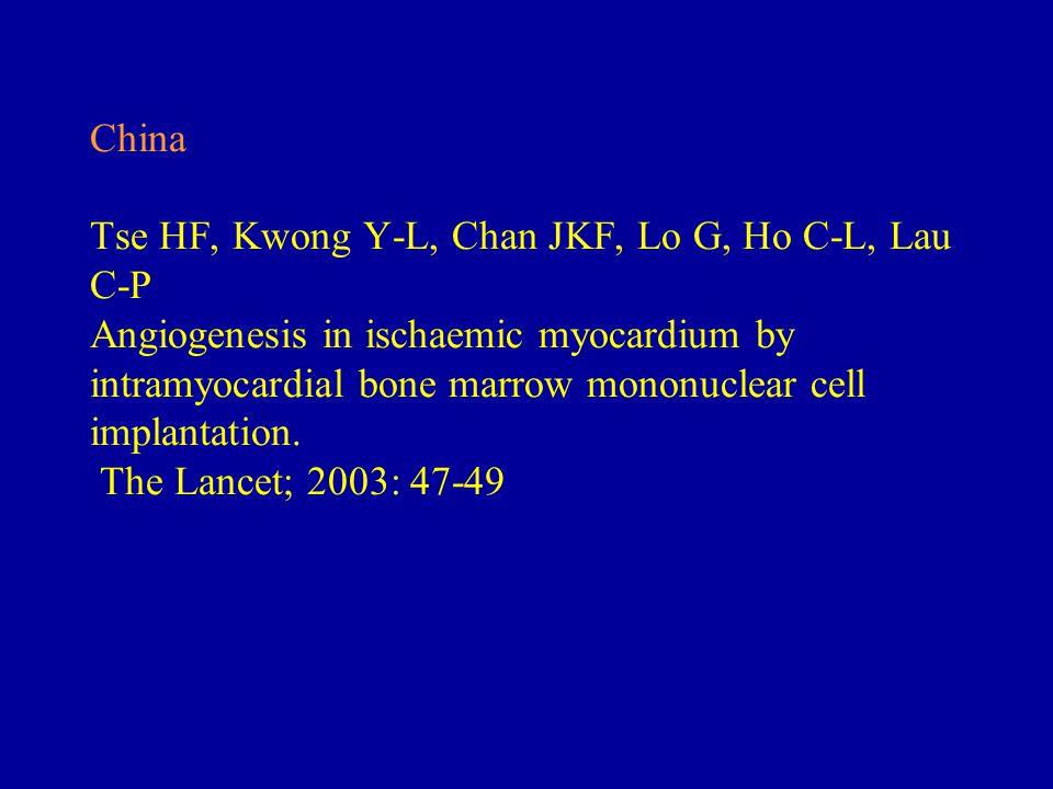 China Tse HF, Kwong Y-L, Chan JKF, Lo G, Ho C-L, Lau C-P Angiogenesis in ischaemic myocardium by intramyocardial bone marrow mononuclear cell implantation.