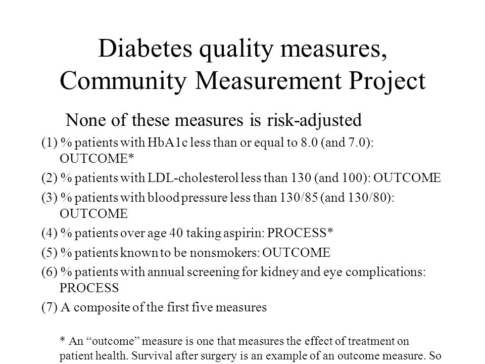 Diabetes quality measures, Community Measurement Project None of these measures is risk-adjusted (1) % patients with HbA1c less than or equal to 8.0 (and 7.0): OUTCOME* (2) % patients with LDL-cholesterol less than 130 (and 100): OUTCOME (3) % patients with blood pressure less than 130/85 (and 130/80): OUTCOME (4) % patients over age 40 taking aspirin: PROCESS* (5) % patients known to be nonsmokers: OUTCOME (6) % patients with annual screening for kidney and eye complications: PROCESS (7) A composite of the first five measures * An outcome measure is one that measures the effect of treatment on patient health.