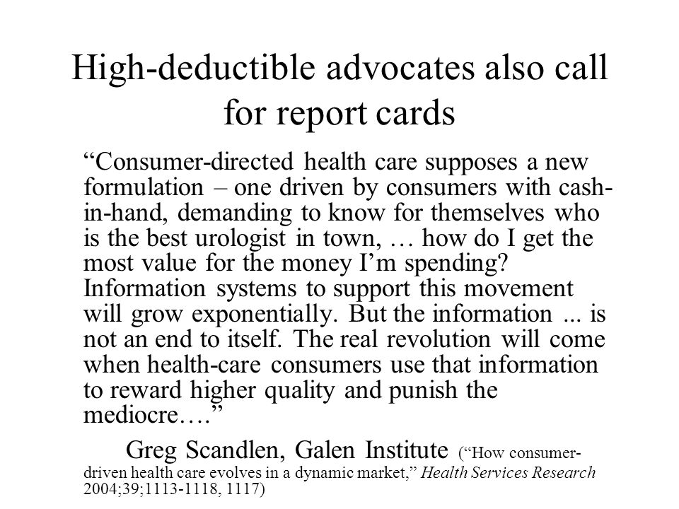 But accurate report cards are almost nonexistent [W]e have no assurances that the competition of [health] plans...