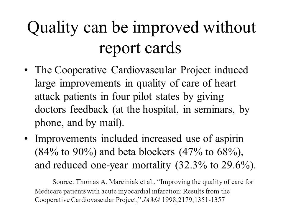 Quality can be improved without report cards The Cooperative Cardiovascular Project induced large improvements in quality of care of heart attack patients in four pilot states by giving doctors feedback (at the hospital, in seminars, by phone, and by mail).