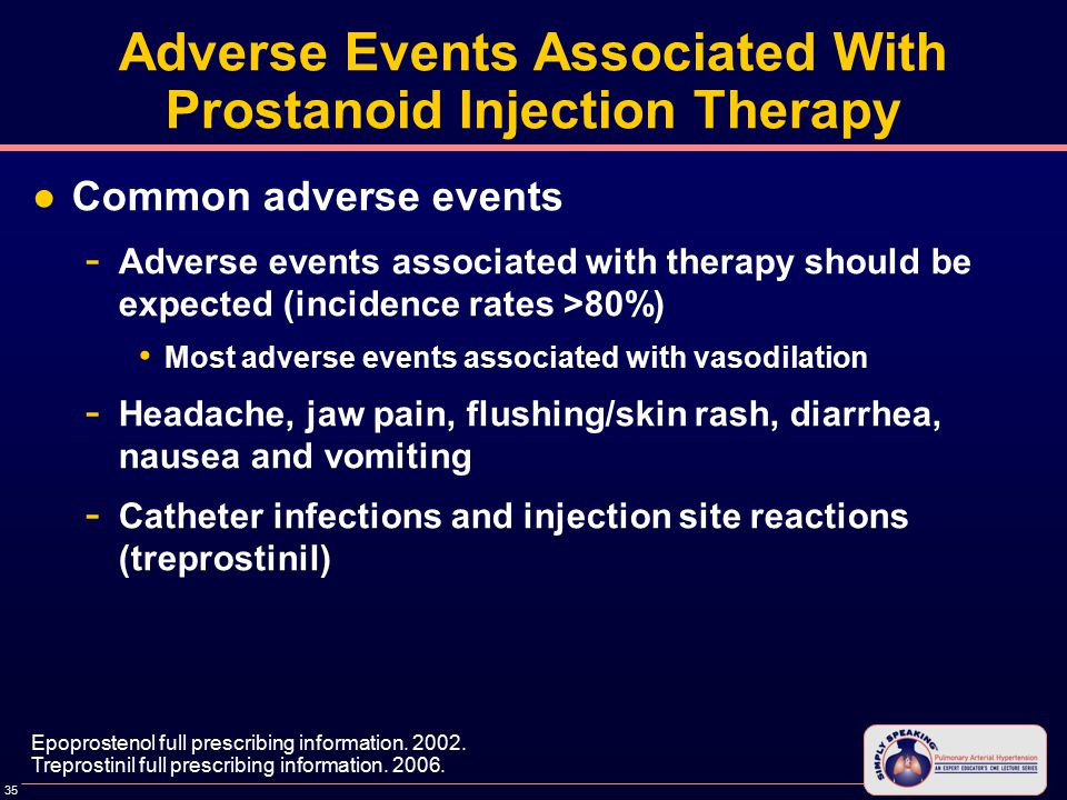 35 Adverse Events Associated With Prostanoid Injection Therapy ●Common adverse events - Adverse events associated with therapy should be expected (incidence rates >80%) Most adverse events associated with vasodilation - Headache, jaw pain, flushing/skin rash, diarrhea, nausea and vomiting - Catheter infections and injection site reactions (treprostinil) Epoprostenol full prescribing information.