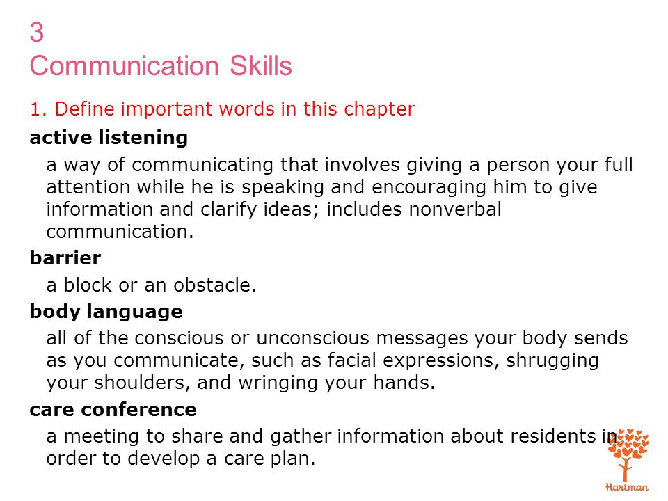 3 Communication Skills 1. Define important words in this chapter active listening a way of communicating that involves giving a person your full atten