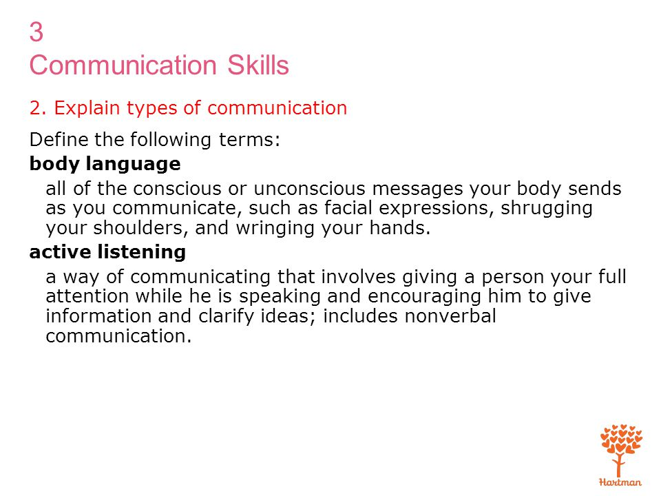 3 Communication Skills 2. Explain types of communication Define the following terms: body language all of the conscious or unconscious messages your b