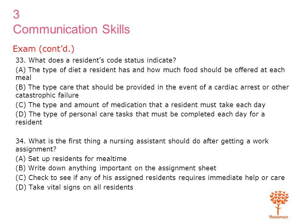 3 Communication Skills 33. What does a resident's code status indicate? (A) The type of diet a resident has and how much food should be offered at eac