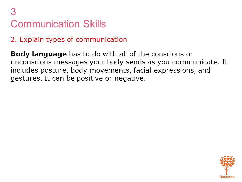 3 Communication Skills 2. Explain types of communication Body language has to do with all of the conscious or unconscious messages your body sends as