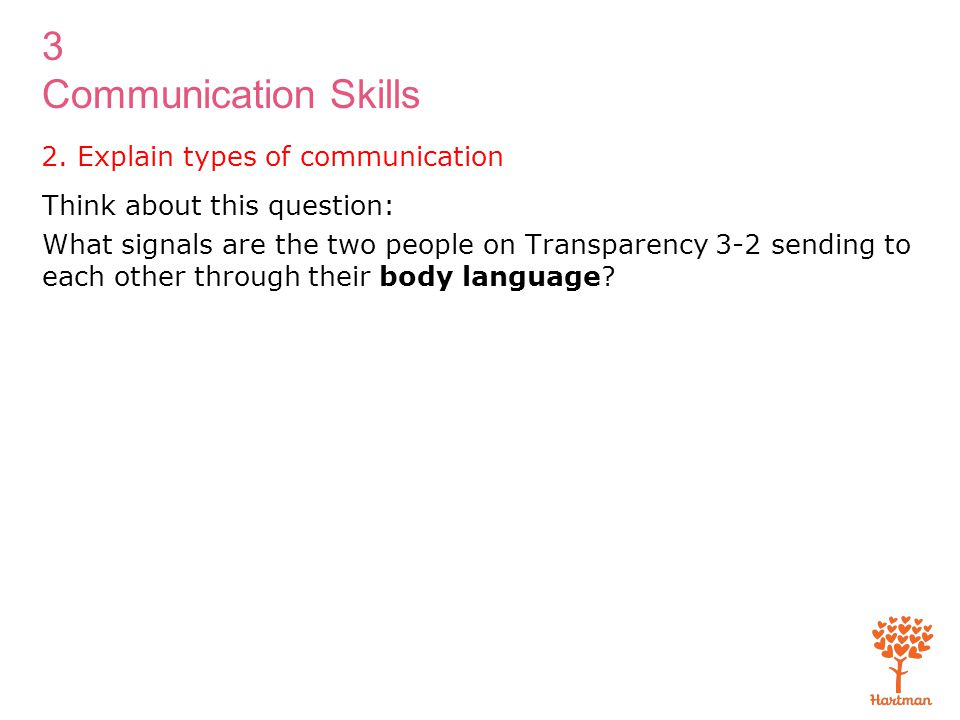 3 Communication Skills 2. Explain types of communication Think about this question: What signals are the two people on Transparency 3-2 sending to eac