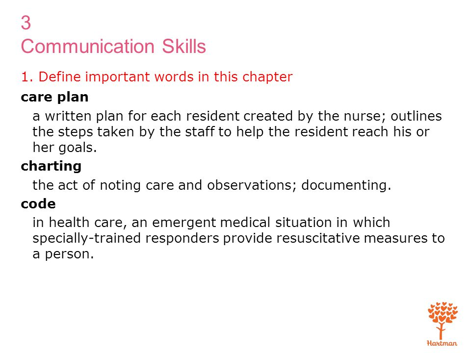 3 Communication Skills 1. Define important words in this chapter care plan a written plan for each resident created by the nurse; outlines the steps t