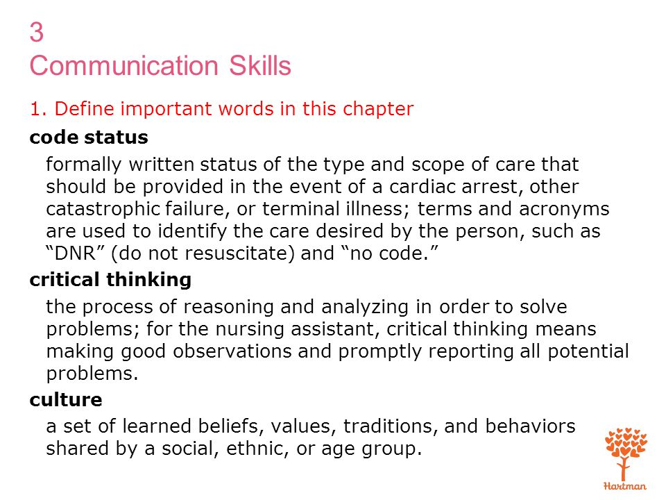 3 Communication Skills 1. Define important words in this chapter code status formally written status of the type and scope of care that should be prov