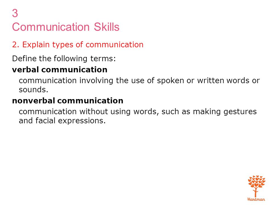 3 Communication Skills 2. Explain types of communication Define the following terms: verbal communication communication involving the use of spoken or