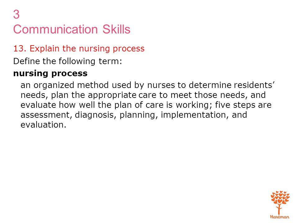 3 Communication Skills 13. Explain the nursing process Define the following term: nursing process an organized method used by nurses to determine resi