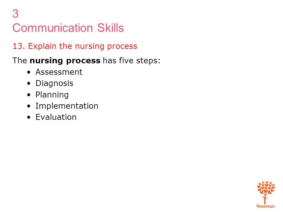 3 Communication Skills The nursing process has five steps: Assessment Diagnosis Planning Implementation Evaluation 13. Explain the nursing process