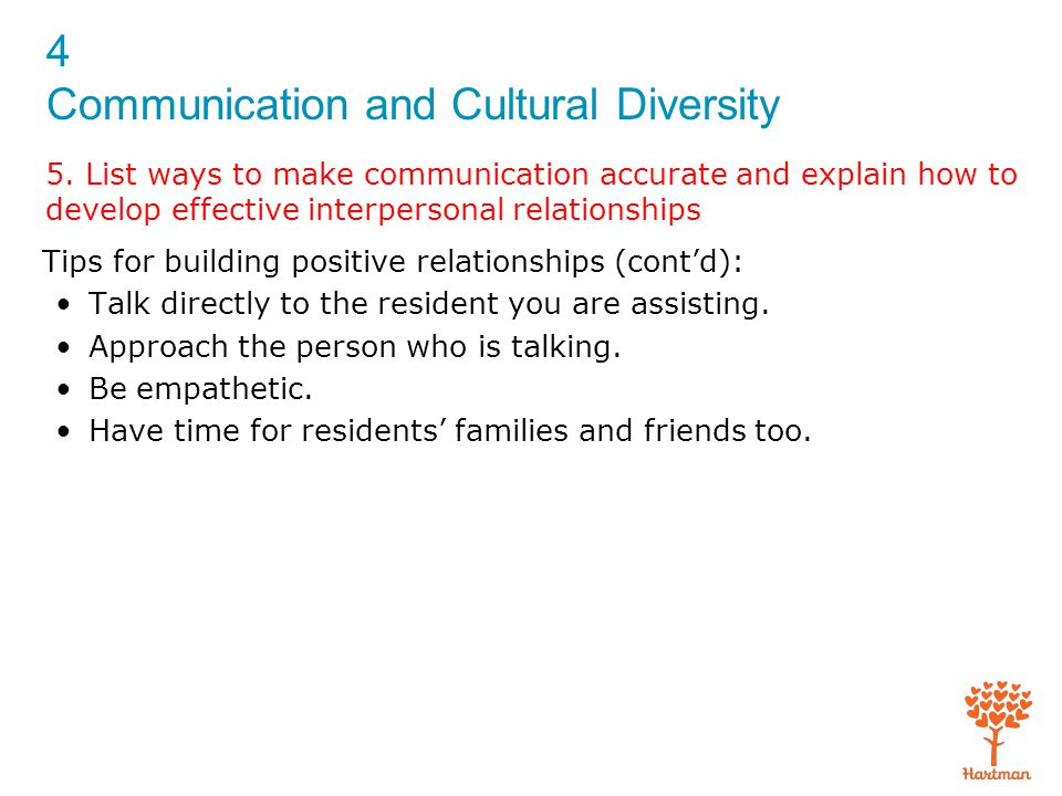 4 Communication and Cultural Diversity 5. List ways to make communication accurate and explain how to develop effective interpersonal relationships Ti