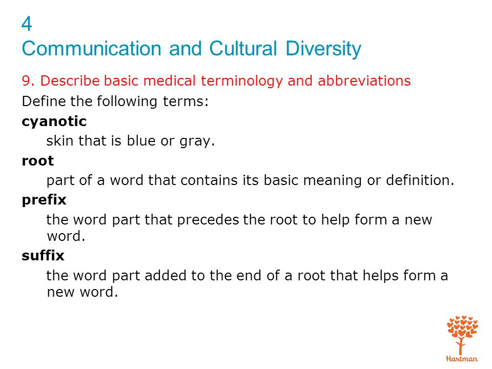 4 Communication and Cultural Diversity 9. Describe basic medical terminology and abbreviations Define the following terms: cyanotic skin that is blue