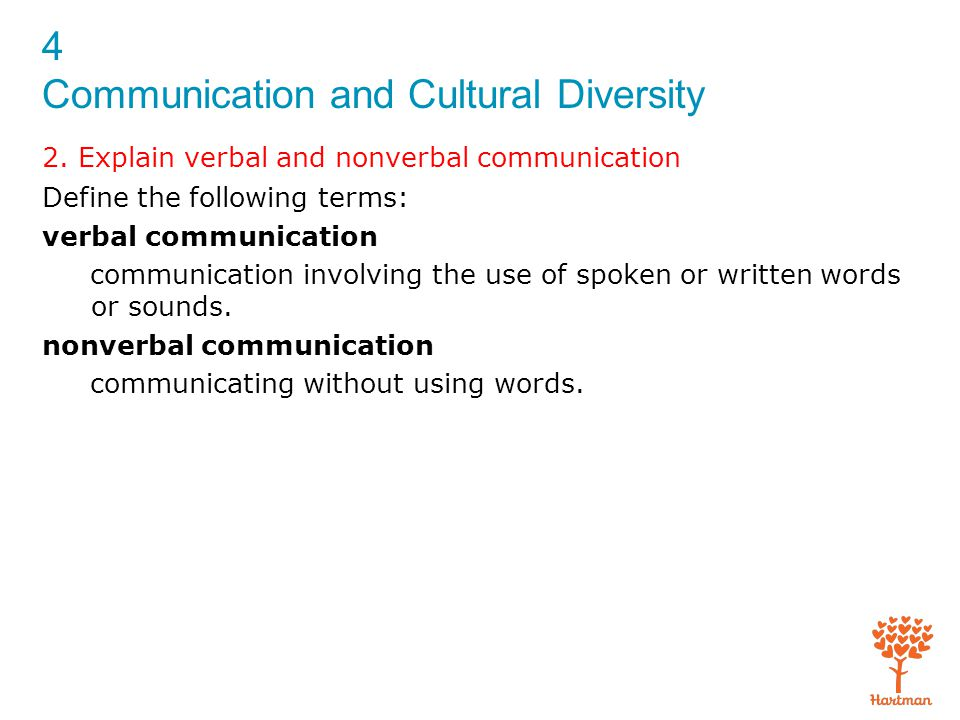 4 Communication and Cultural Diversity 2. Explain verbal and nonverbal communication Define the following terms: verbal communication communication in