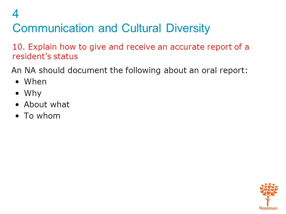 4 Communication and Cultural Diversity 10. Explain how to give and receive an accurate report of a resident's status An NA should document the followi
