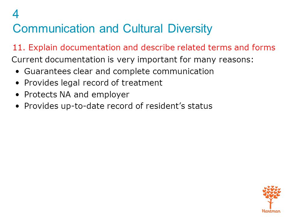 4 Communication and Cultural Diversity 11. Explain documentation and describe related terms and forms Current documentation is very important for many