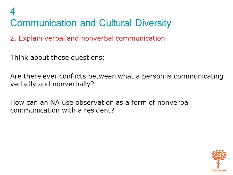 4 Communication and Cultural Diversity 2. Explain verbal and nonverbal communication Think about these questions: Are there ever conflicts between wha