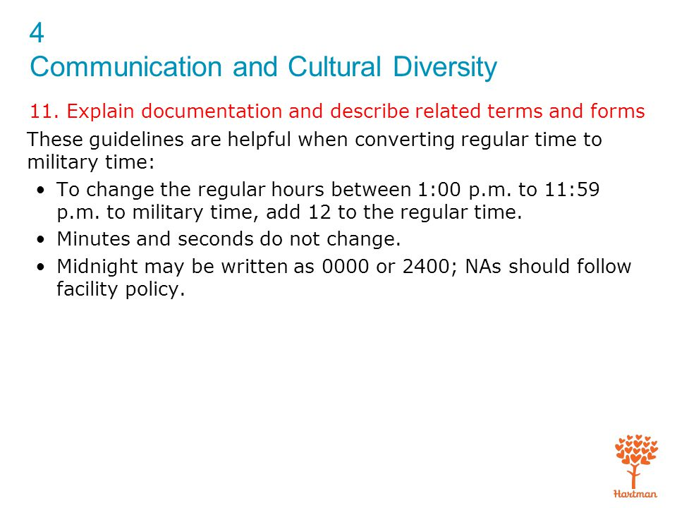 4 Communication and Cultural Diversity 11. Explain documentation and describe related terms and forms These guidelines are helpful when converting reg