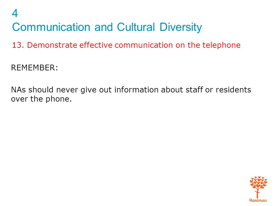 4 Communication and Cultural Diversity 13. Demonstrate effective communication on the telephone REMEMBER: NAs should never give out information about