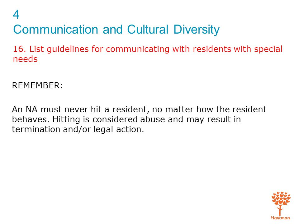 4 Communication and Cultural Diversity 16. List guidelines for communicating with residents with special needs REMEMBER: An NA must never hit a reside