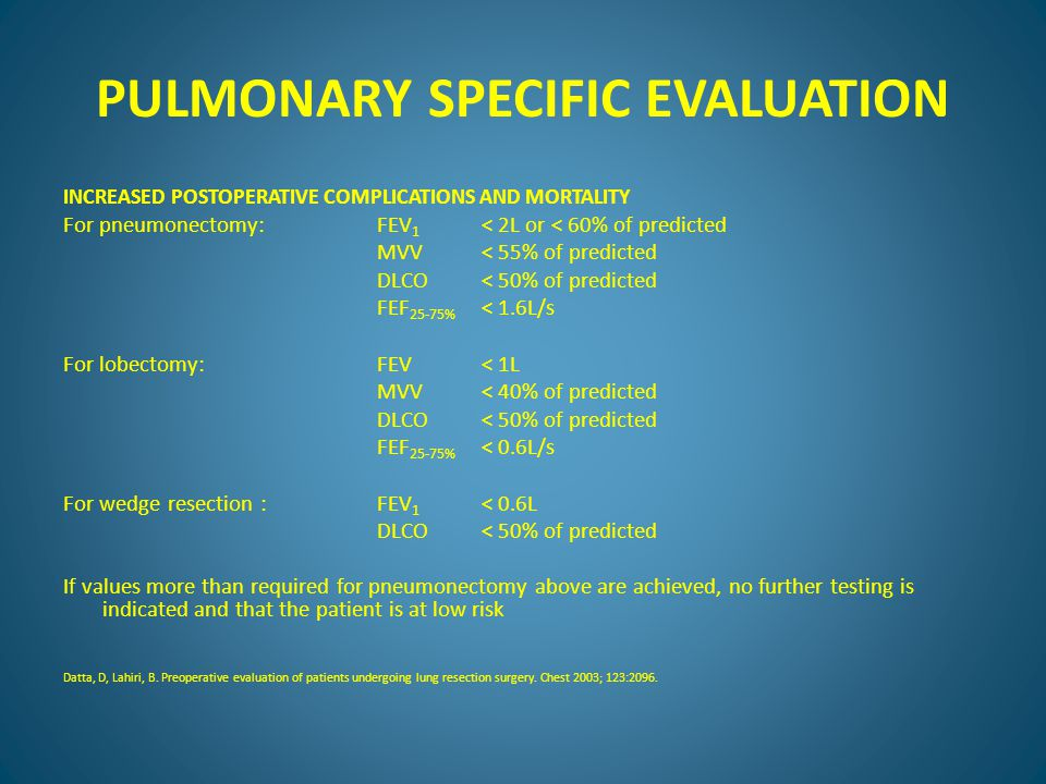 PULMONARY SPECIFIC EVALUATION INCREASED POSTOPERATIVE COMPLICATIONS AND MORTALITY For pneumonectomy: FEV 1 < 2L or < 60% of predicted MVV < 55% of predicted DLCO < 50% of predicted FEF 25-75% < 1.6L/s For lobectomy:FEV< 1L MVV< 40% of predicted DLCO< 50% of predicted FEF 25-75% < 0.6L/s For wedge resection :FEV 1 < 0.6L DLCO< 50% of predicted If values more than required for pneumonectomy above are achieved, no further testing is indicated and that the patient is at low risk Datta, D, Lahiri, B.