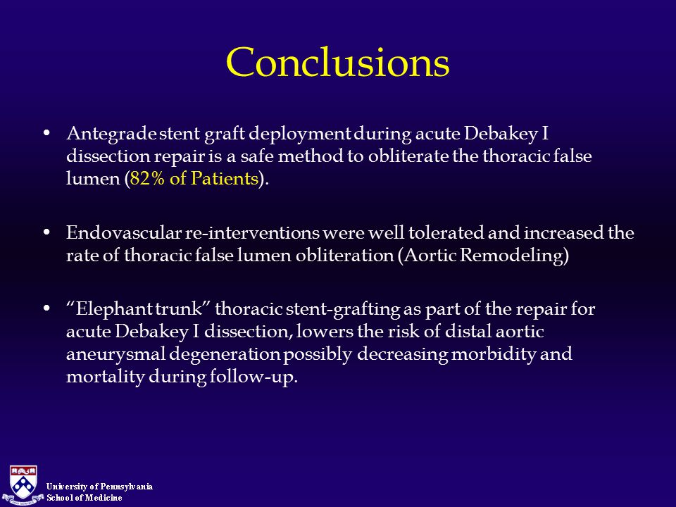 Conclusions Antegrade stent graft deployment during acute Debakey I dissection repair is a safe method to obliterate the thoracic false lumen (82% of