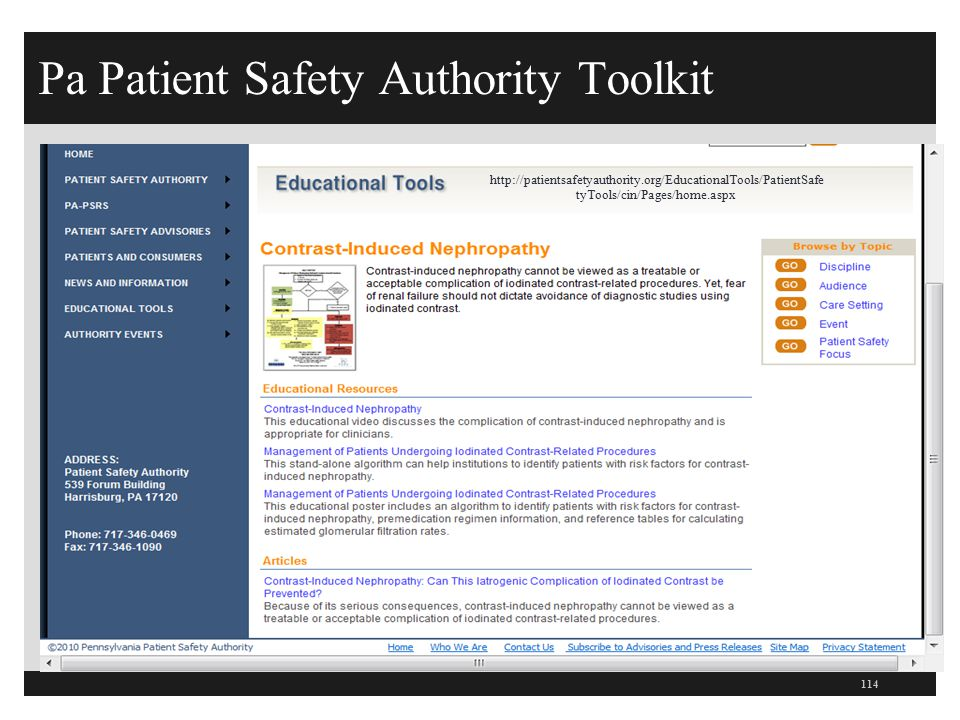 Pa Patient Safety Authority Toolkit 114 http://patientsafetyauthority.org/EducationalTools/PatientSafe tyTools/cin/Pages/home.aspx