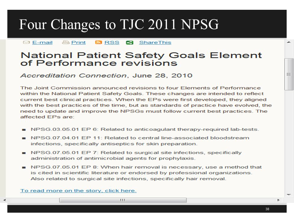 Four Changes to TJC 2011 NPSG 38