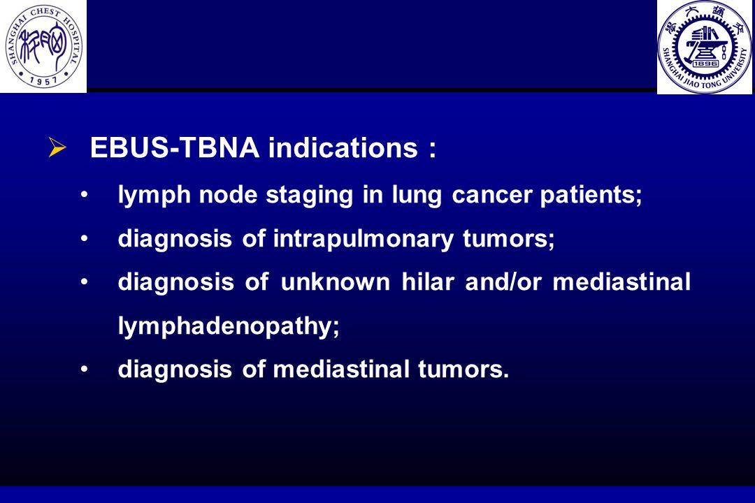 60 个实时 EBUS-TBNA 病人穿刺纵隔 / 肺门 LN 和肺内肿块的位置和结果 Table 1 Results of real-time EBUS-TBNA in 60 patients with mediastinal/hilar lymph nodes and intrapulmonary mass by location.